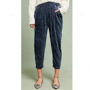 Anthropologie Velvet Cropped Pants ett:twa Blue XL